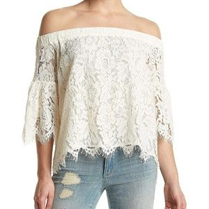 NWT Jessica Simpson lace off shoulder top sz small